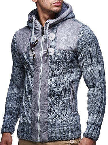 LEIF NELSON LN20525 Men's Knit Zip-up Jacket with Geometric Patterns and Leather Accents; Size 4X-Large, Gray