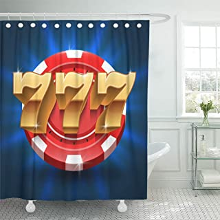 Emvency Shower Curtain Colorful Flat Lucky 777 Numbers Win Slot Gambling and Casino Concept in Gamble Game Jackpot Chance Shower Curtains Sets with Hooks 60 x 72 Inches Waterproof Polyester Fabric