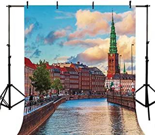 Cityscape Stylish Backdrop,Scenic Summer Sunset of Copenhagen Denmark Old Scandinavian View City Europe Home for Photography,98.4