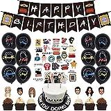 Kit de decoraciones de cumpleaños temáticas de amigos, pancartas de feliz cumpleaños, globos de conf...