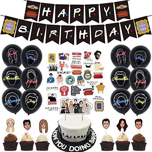Kit de decoraciones de cumpleaños temáticas de amigos, pancartas de feliz cumpleaños, globos de confeti, adornos para tartas y cupcakes, pegatinas DIY