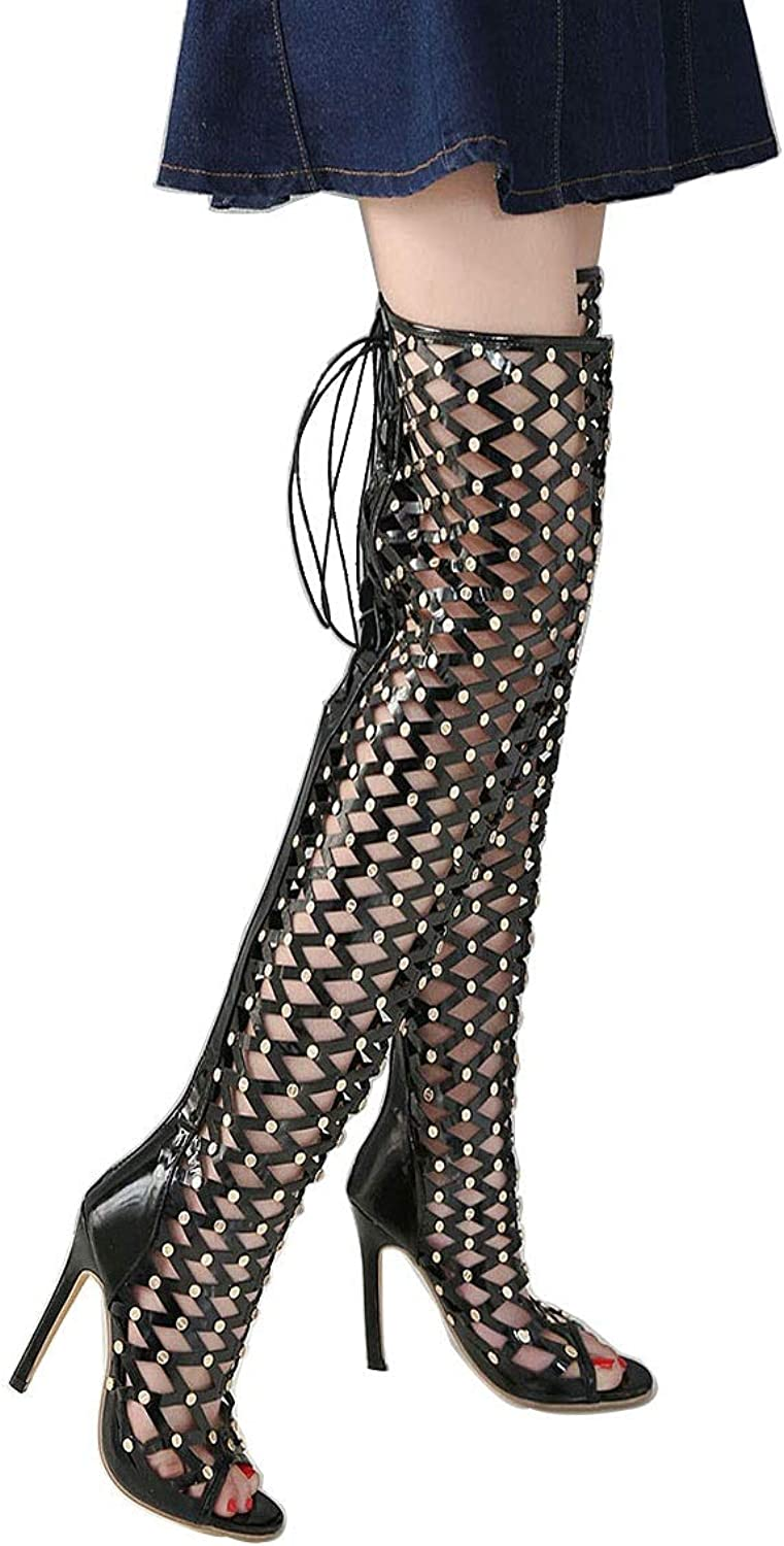 Summer Women shoes High Heel Sexy Rivet Women Thigh High Over The Knee Boots Woman Peep Toe Gladiator Sandals (color   Black, Size   5.5 US)