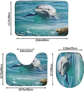 Juego De Alfombra De Baño Suave Antideslizante De 3 Piezas Alfombrilla De Baño Con Forma De Delfín+Cubierta De Asiento De Ino