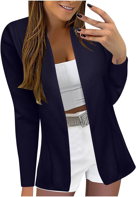 Womens Blazers Plus Size Work Office Suit Lightweight Cardigan Fall Fashion Long Sleeve Open Front Boyfriend Jackets
