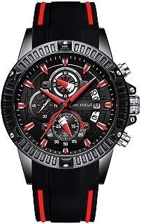 BOFUTE Multifonction Chronographe Homme Lumineux Militaire Sports de Plein Air Grand en Silicone Montre avec Quartz(Noir R...