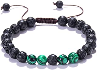 Adjustable Natural Lava Rock Stone Beads Essential Oil Anxiety Diffuser Bracelet& 8 Chakras Bracelet for Men and Women