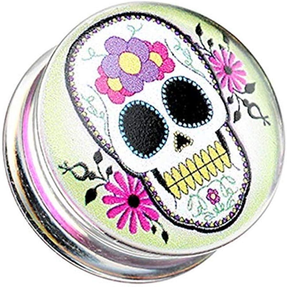 Covet Jewelry Sugar Skull Clear UV Double Flared Ear Gauge Plug