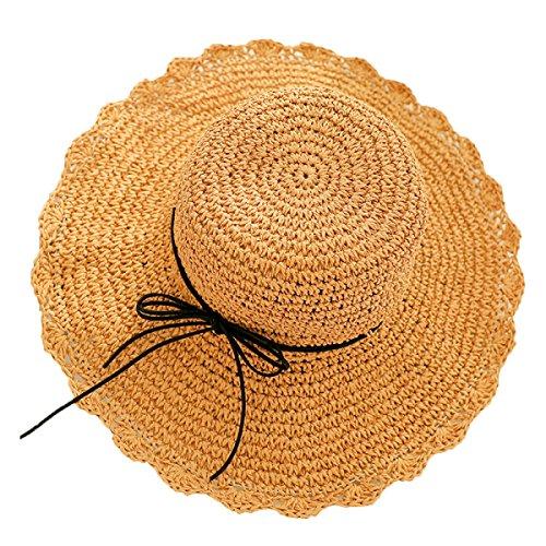 NIAIS Frauen Damen Sommer Floppy Sonnenhut Faltbarer Hut Breiter Krempe Strand Hut Strohhut,H-M