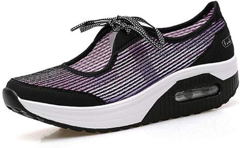 T -JULY kvinnor Mes Andable Casual skor skor skor sommar Bow Stried Wedge skor Comfort Platform Lace Up skor  nyhetsartiklar