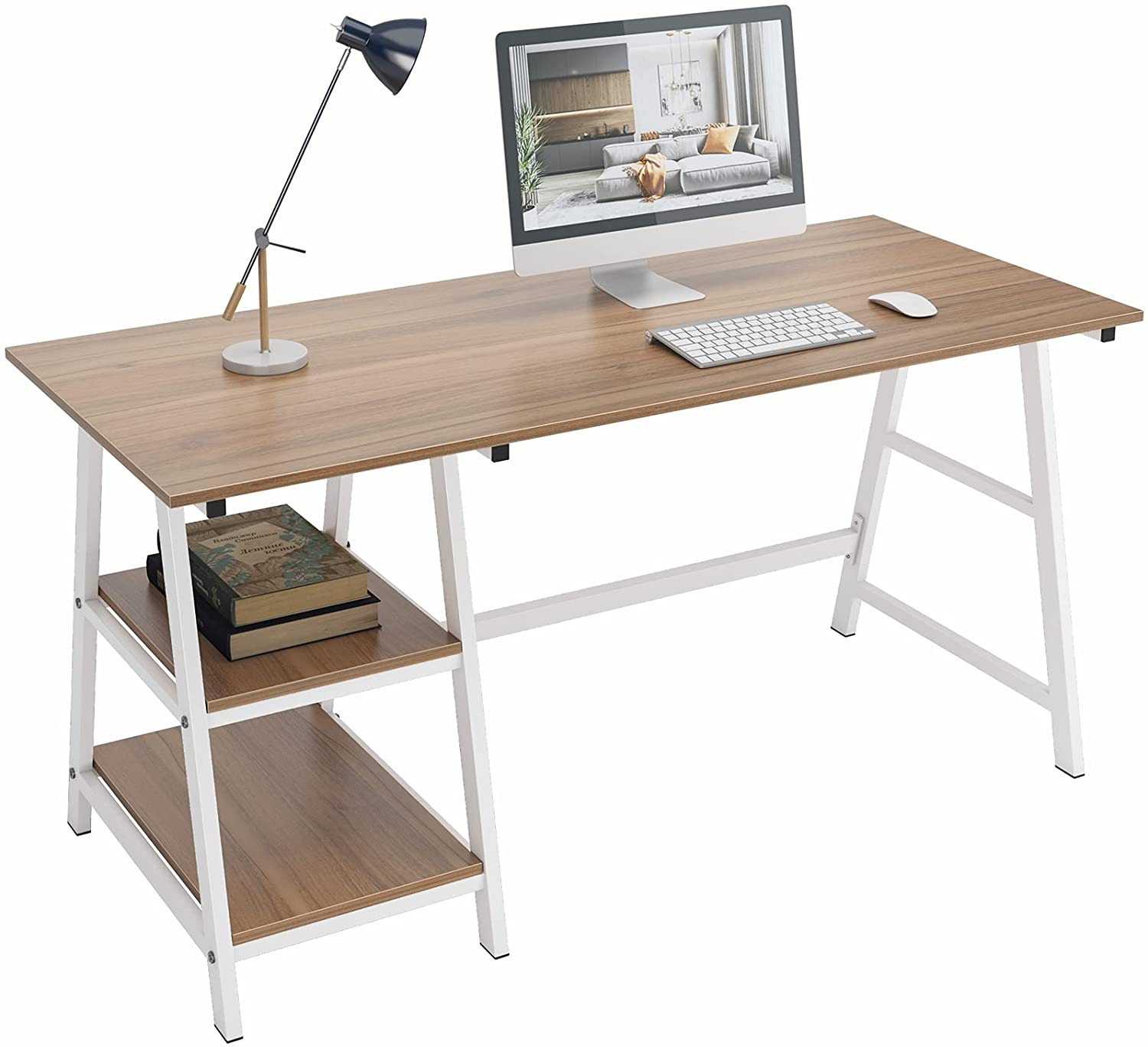 DlandHome Computer Desk with Storage Shelf, Trestle Desk, Home Office Desk/Workstation/Writing Table with Opening Shelves, Tplus (55 inches, Oak)