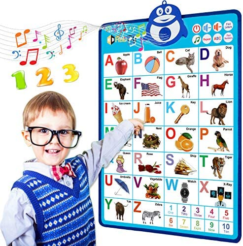 Electronic Interactive Alphabet Wall Chart Talking ABC 123s Music Poster Best Educational Toy product image