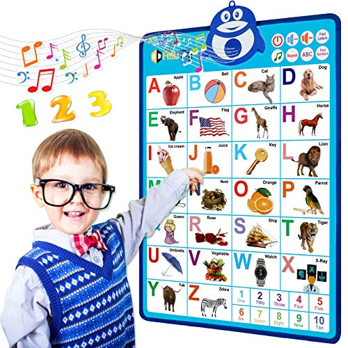 Electronic Interactive Alphabet Wall Chart,ABC & 123s Music Talking Poster,Best Educational Toy for 2 Year olds and 3 Year olds, Toddler Toys for Boys & Girls