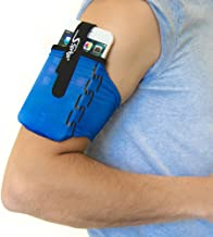 Sprigs Armband for iPhone 11/x/xr/8/7 Plus, Galaxy S10/S9, Google Pixel 4. Lightweight & Comfortable Running Armband, Stretches to Fit All Phones with Case - Blue/Black, Small