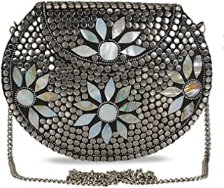 Shakuntala Textiles Bridal Women's Antique Brass Purse Ethnic Handmade Metal Clutch Bag (Color: Silver)