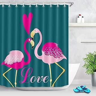 GJELTJEQ Cortinas De Baño Verde Oscuro,Tela De Poliéster Resistente Al Moho,Cortina De Baño con Ganchos Flamingo 180 * 180 Cm