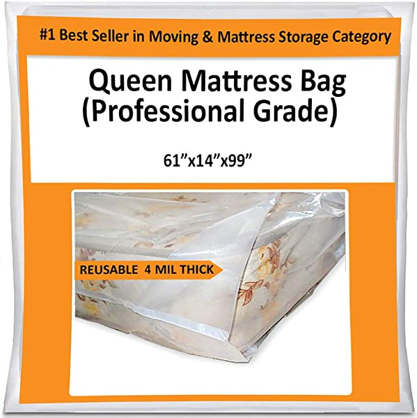 Queen Mattress Bag For Moving Storage Cover 4 Mil Heavy Duty Thick Plastic Wrap Protector Reusable Bags Supplies