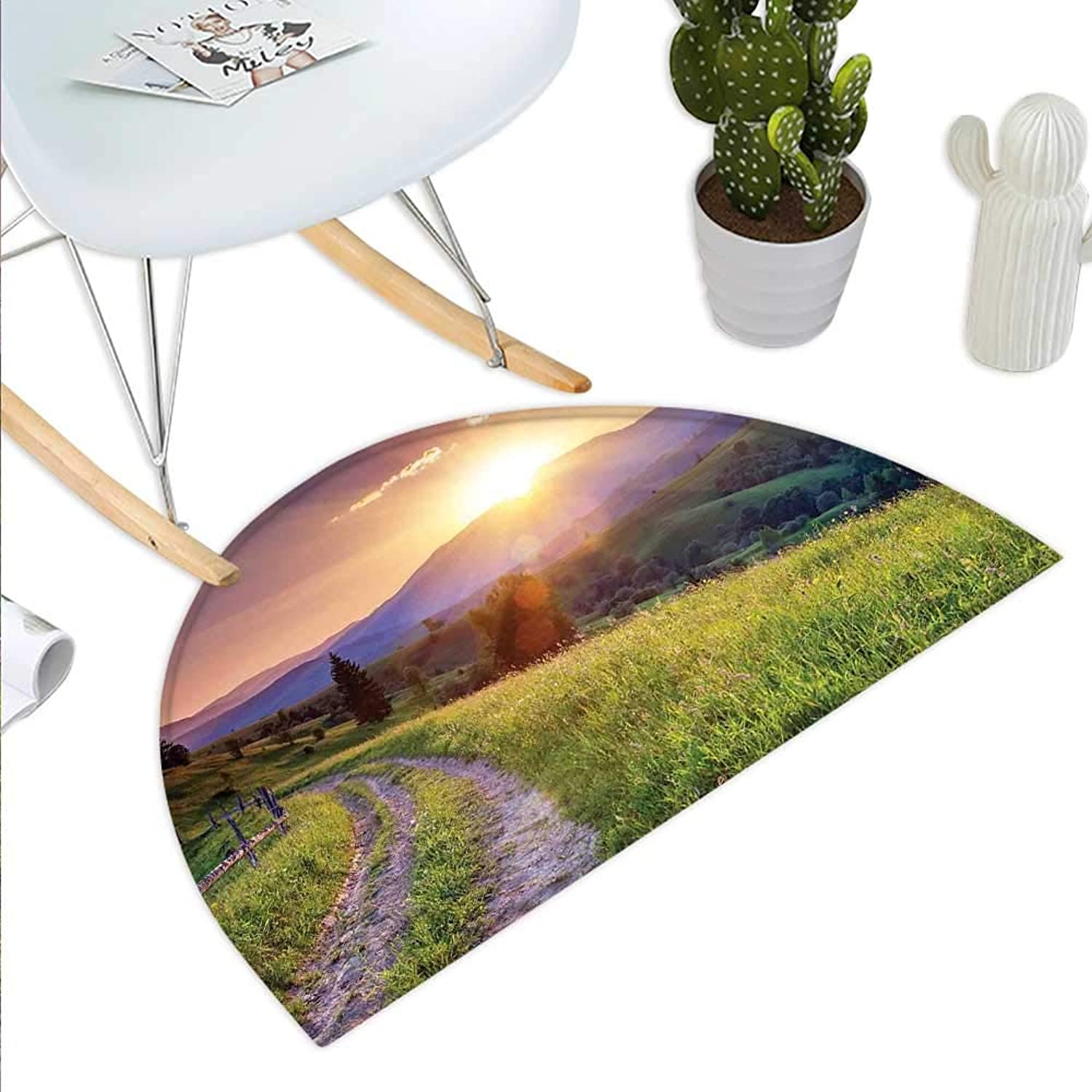 Nature Semicircle Doormat Sunset in The Mountain Landscape Rural Road Forest Countryside Wonderland Print Deco Halfmoon doormats H 35.4  xD 53.1  Multi