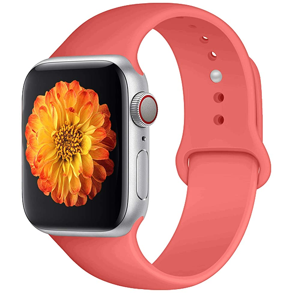 Misker Sport Band Compatible with Watch 42mm 38mm 40mm 44mm,Soft Silicone Strap Replacement Wristbands Compatible with Sport Series 4/3/2/1(42s Coral)