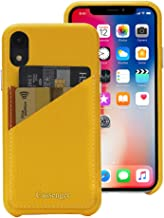 Cassenger Slim Fit Genuine Italian Leather Hard Back Case Protective Cover Snap On Case with 2 Card Holder Slots for iPhone XR-Yellow