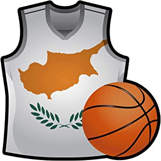 Makoroni - CYPRUS T Shirt & Basketball Shape Country Flag National Basketball Team Sticker Car Laptop Wall Decal 4'x4'(Small) or 6'x6'(Large)