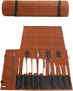 QEES - Bolsa enrollable para cuchillos de chef (lona encerada, resistente al agua, con cremallera, 15 ranuras, para utensilios de cocina, bolsa de almacenamiento, regalo para papá y marido