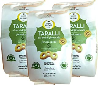 Terre Di Puglia, Baked Taralli Fennel Seeds Snack (Pack of 3), Imported from Italy, 8.8 oz (each)