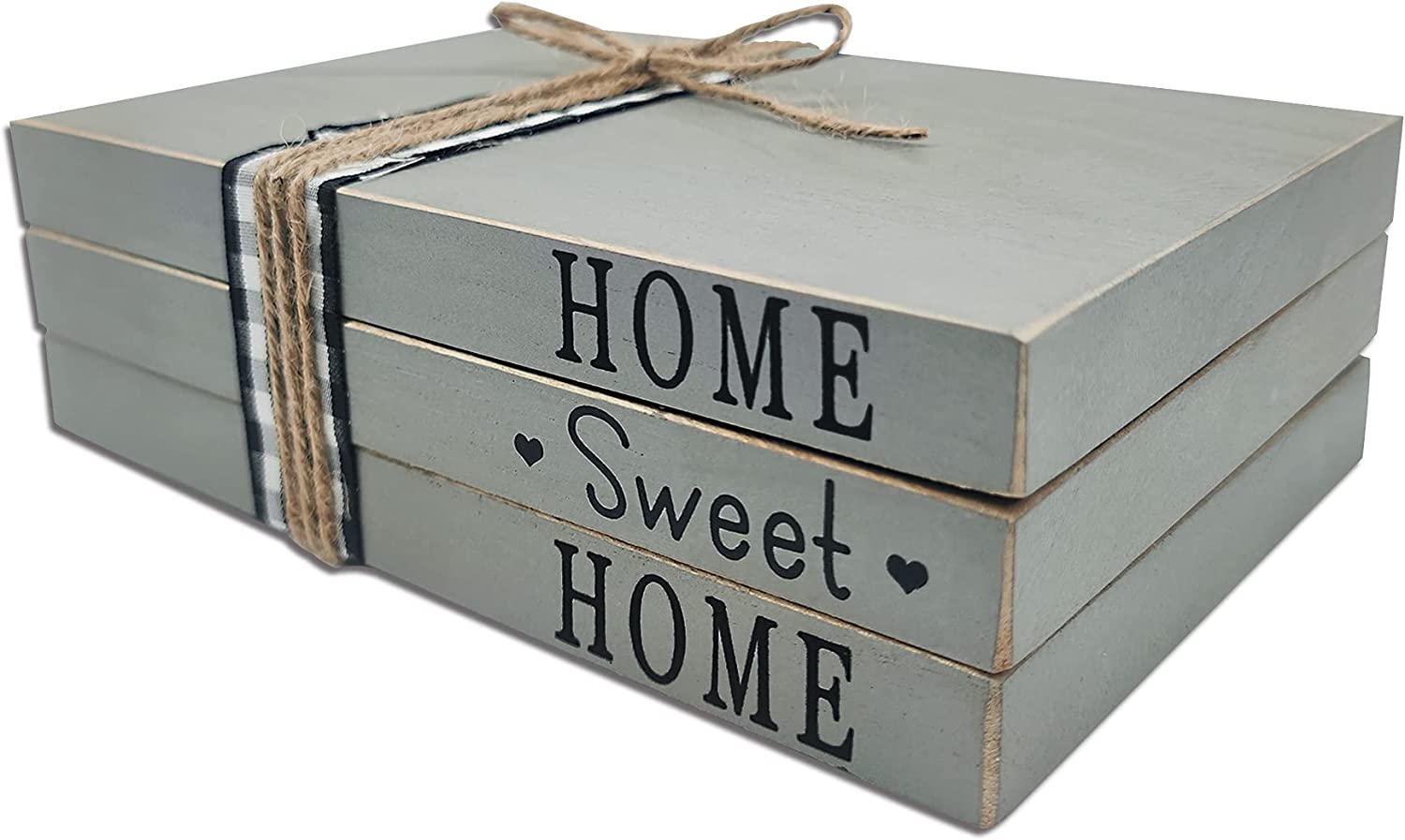 cocomong Decorative Books for Coffee Table, Modern Farmhouse Decor for Fireplace Mantle, Home Sweet Home Decor, Wooden Fake Book Stack, Grey Faux Books Decorations for Entryway Table, Tiered Tray