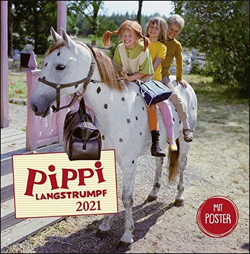 Pippi Langstrumpf Broschurkalender 2021 - mit Poster - Wandkalender mit Monatskalendarium und Platz für Eintragungen - Format 29,5 x 30 cm (29,5 x 60 cm geöffnet)
