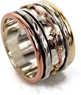 Spinner Band Anneaux, Spinner Band Rings, Bague Anxiété pour Meditaion, Anneaux Spinner Band en Argent Sterling 925 pour F...