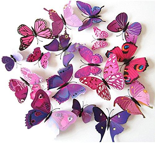 Oblique-Unique 3D Schmetterlinge Blumen 12er Set Dekoration Wandtattoo (Alive (pink-lila))