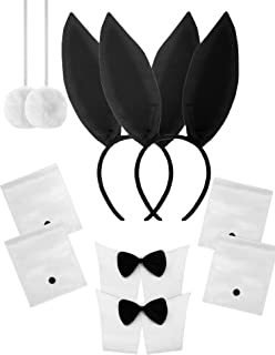 10 Pieces Bunny Costume Set Black Ears Headband Bowtie Cuff Pompon Tail for Halloween Party Costume Supplies