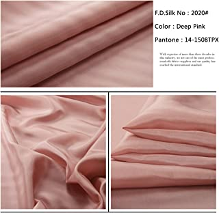 F.D.SILK 8MM 100% Mulberry Deep Pink Silk Habotai Fabric By the Yard, 48 Colors, DLF0820