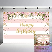 Mocsicka Pink Floral Birthday Backdrop Watercolor Floral Glitter Dots Birthday Party Background Vinyl 7x5ft Pink and White Stripes Photo Backdrops Birthday Party Decorations