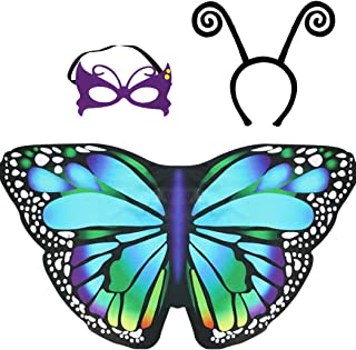 Kids Butterfly Wings Costume for Girls Fairy Halloween Dress Up Cape with Mask Headband Party Favors
