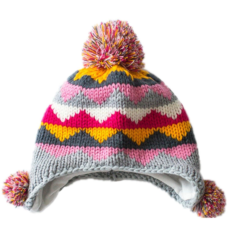 (コネクタイル)Connectyle 耳あて ニット帽子 キッズ ニットキャップ ポンポン付き 赤ちゃん 幼児 子供 暖かい 冬 耳保護付き 帽子 防寒