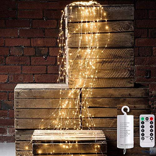 PANAX 200 Micro-LED Lichterbündel auf hochwertigen Kuperdraht mit 10 Strängen 200cm - Batterie Betireb mit Anhänge Weihnachtsdekoration in warmweiß