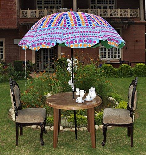 Lalhaveli Sonnenschirm, indischer Stil, mit dekorativen Stickereien, Baumwoll
