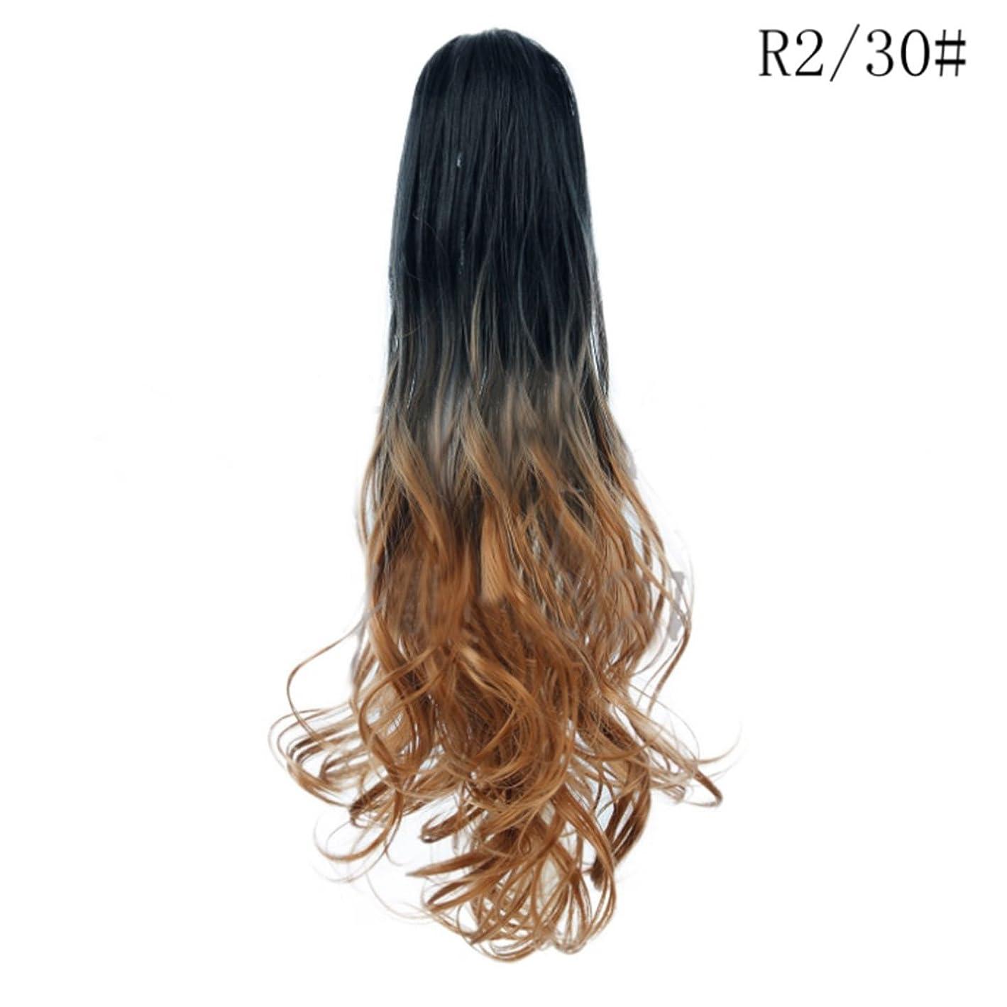 オレンジ覚醒広げるKoloeplf ロングロール目に見えないシームレスなひげそりの髪21インチの爪のクリップポニーテールのウィッグ女性のための大きな波ロールのヘアピースカーリーポニーテールのかつら (Color : R2/30#)