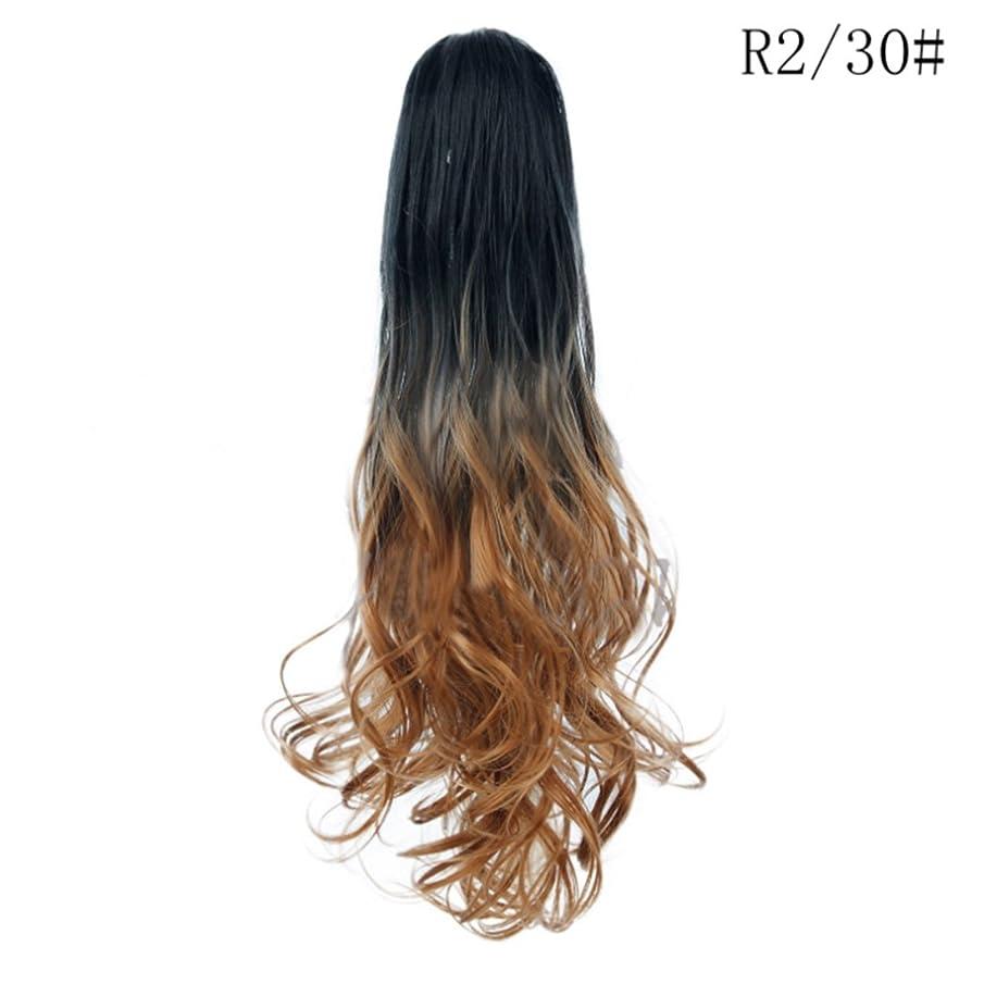 アルカトラズ島ソース洗練されたKoloeplf ロングロール目に見えないシームレスなひげそりの髪21インチの爪のクリップポニーテールのウィッグ女性のための大きな波ロールのヘアピースカーリーポニーテールのかつら (Color : R2/30#)