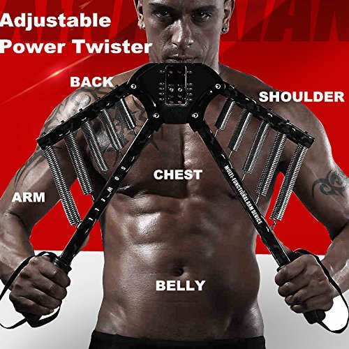 SOWELL Arm Exercises 4 in 1 Power Twister Chest Expander Adjustable Strength Trainer Pull Exerciser with Adjustable Resistance from 30Kgs to 60Kgs
