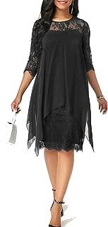 Dresses Women Chiffon Overlay Three Quarter Sleeve Stitching Irregular Hem Lace Dress