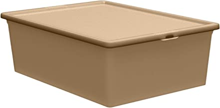 QUTU LightBox Transparent Solid Gold Storage Box - Golden Brown, H 37 cm x W 17.5 cm x D 52.5 cm