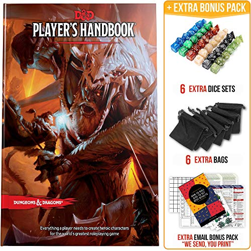 Player's Handbook Dungeons and Dragons 5th Edition with DND Dice and Complete Printable Kit - D&D Core Rulebook - D&D 5e Players Handbook Gift Set - D&D Starter Set Accessory - DND Beginner Gift Set