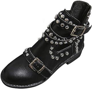 POLP Botas de Tobillo para Mujer con Hebilla Botines Mujer Tacón bajo de 4 cm Negro Zapatos de Tobillo de Fiesta con Tachu...