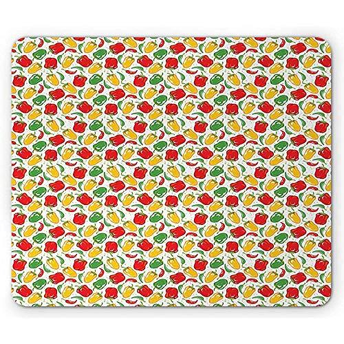 Peper-muismat, kleurrijke illustratie van paprika-hulzen met stippen op de achtergrond, wit en veelkleurig