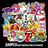 100 PCS The Simpsons Stickers for Laptop Water Bottle Luggage Snowboard Bicycle Skateboard Decal for Kids Teens Adult Waterproof Aesthetic Stickers (The Simpsons)