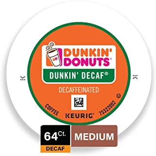Dunkin' Donuts Medium Roast Decaf Coffee, 64 K Cups for Keurig Makers