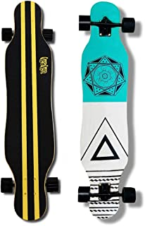 DINBIN Longboard Skateboard 41 Inch Drop Through Deck Complete Cruiser for Dancing Cruising Freestyle Carving and Downhill