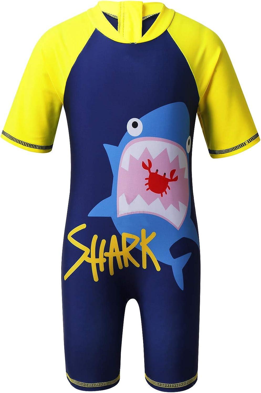 easyforever Kids Boys Shorty Wetsuit Shark/Whale Printed Zippered Swimwear with Cap Set Rash Guard Bathing Suit