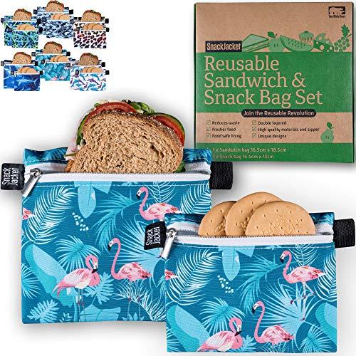 SnackJacket Reusable Sandwich & Snack Bags - Set of 2 Food Storage Bags -...